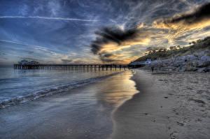Fotos Vereinigte Staaten Küste Himmel Sand HDR Strand Malibu Natur
