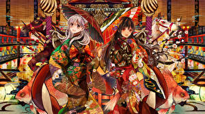Fonds d'écran Deux Kimono Parapluie henachoko, original Anime Filles