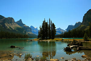 Hintergrundbilder Kanada Park See Gebirge Jasper park Maligne Lake