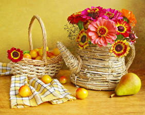 Pictures Still-life Zinnia Plums Pears Vase Wicker basket Flowers Food