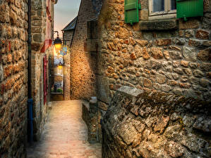 Bakgrunnsbilder Frankrike Hus Natt Gatelykter Gate Mont Saint Michel byen