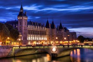 Bakgrunnsbilder Frankrike Bygning Elver Elv Broer Paris Gatelykter Byer