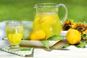 Photo Drinks Juice Lemons Lemonade Highball glass Jug container