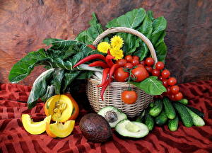 Images Vegetables Tomatoes Pumpkin Bell pepper Cucumbers Wicker basket Food