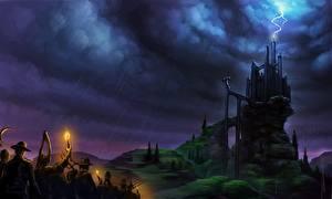 Photo Fantastic world Castle Rain Lightning Clouds Frankenstein Fantasy