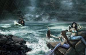 Fonds d'écran Sirène Pluie Mer A voile Navire Trois 3 Fantasy Filles