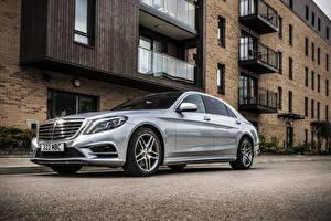 Wallpaper Mercedes-Benz Silver color Asphalt Hybrid vehicle 2014 S300 BlueTEC Hybrid automobile