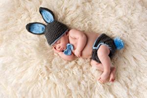 Wallpaper Infants Sleeping Winter hat Rabbit ears Children