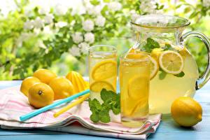 Wallpaper Drinks Juice Lemons Lemonade Highball glass Jugs Food