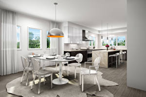 Picture Interior Design Kitchen Lamp Table Chairs High-tech style
