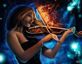 Fonds d'écran Magie Violon Flamme Burning Lullaby Fantasy Filles