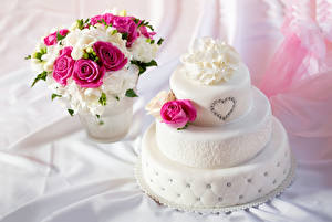 Wallpapers Confectionery Cakes Roses Freesia Bouquet Heart Food Flowers
