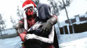 Desktop wallpapers Heroes comics Deadpool hero Holidays Winter hat Hood headgear Two Hugs Fantasy 3D_Graphics