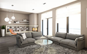 Images Interior Living room Design Sofa Table Rug High-tech style