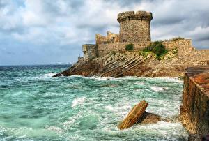 Wallpapers France Castle Water Coast Fuerte de Sokoa Cities
