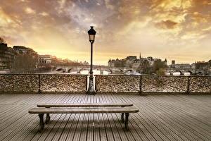 Bakgrunnsbilder Frankrike Bygning En bro Paris Gatebelysning Hagebenk Byer