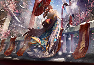 Fonds d'écran Parapluie Kimono liu (sixquest), original Anime Filles