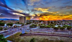 Bilder Vereinigte Staaten Gebäude Straße Sonnenaufgänge und Sonnenuntergänge HDR Tempe Städte