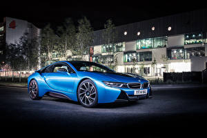 Pictures BMW Building Light Blue Night 2014 i8 Cars
