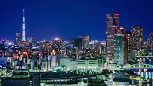 壁纸、、日本、超高層建築物、東京都、メガロポリス、夜、都市