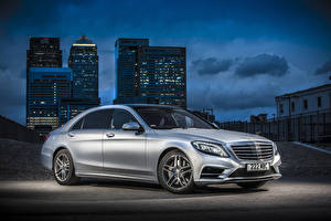 Image Mercedes-Benz Tuning Silver color Night time Hybrid vehicle 2014 S300 W222 BlueTEC Hybrid Cars