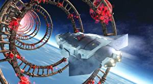 Wallpapers Technics Fantasy Ship Starship Flight Fantasy 3D_Graphics Space