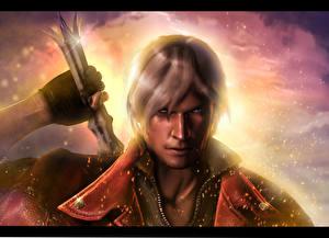 Papel de Parede Desktop Devil May Cry Devil May Cry 4 Dante Guerreiros Espadas Ver 3D_Gráfica