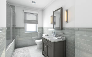 Images Interior Bathroom Design High-tech style 3D Graphics