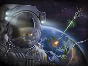 Image Cosmonaut Painting Art Helmet Space