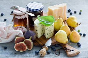 Pictures Still-life Cheese Pears Honey Ficus carica Blueberries Jar