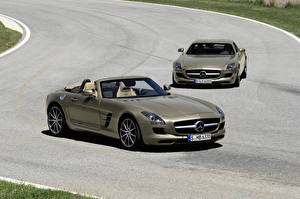 Bilder Mercedes-Benz Metallisch Cabrio Roadster 2011 SLS AMG roadster