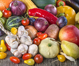 Wallpapers Vegetables Onion Garlic Tomatoes Pepper Apples Pears Watermelons Food