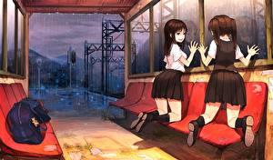 Hintergrundbilder Regen Schulmädchen Zwei Rock soono (rlagpfl), original Anime Mädchens