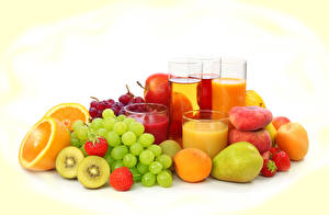 Picture Drinks Juice Grapes Orange fruit Strawberry Pears Peaches Fruit Highball glass