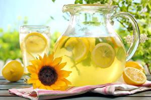 Pictures Drinks Lemons Helianthus Lemonade Highball glass Jugs