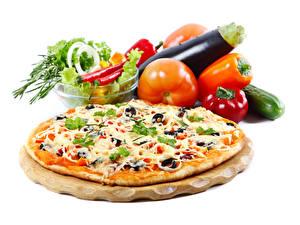 Fotos Fast food Pizza Gemüse Tomate Paprika das Essen