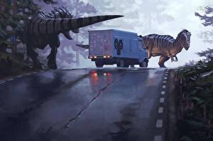 Pictures Dinosaurs Trucks Roads Simon Stalenhag Fantasy