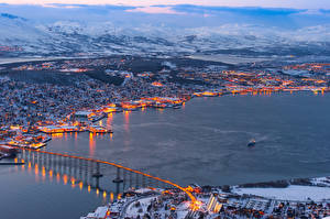 Wallpapers Norway Houses Scenery Rivers Bridge Winter Tromso Cities Nature