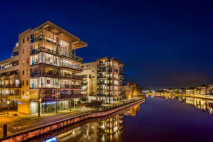 Pictures Norway Houses River Night time Fredrikstad Cities