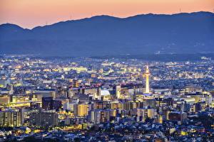 壁纸、、日本、住宅、京都市、メガロポリス、夜、都市