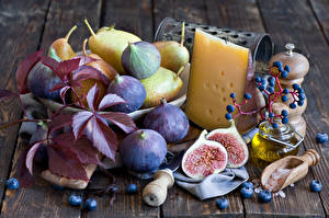 Wallpapers Still-life Common fig Pears Cheese Blueberries