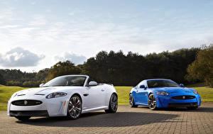 Wallpaper Jaguar Two Cabriolet Light Blue White 2012 XKR-S Cars