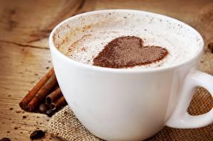 Fotos Kaffee Nahaufnahme Valentinstag Tasse Herz das Essen