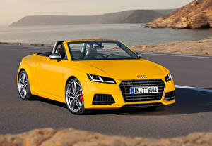 Wallpaper Audi Yellow Cabriolet Roadster 2014 TTS roadster automobile