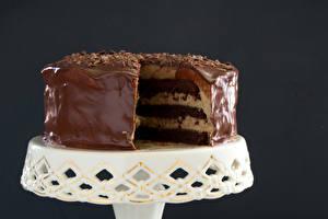 Fotos Süßware Torte Schokolade Farbigen hintergrund Lebensmittel
