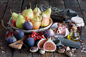 Images Still-life Pears Ficus carica Ham Jar