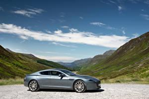 Fotos Aston Martin Graue Metallisch Seitlich 2015 Rapide S automobil