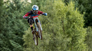 Photo Man Bicycles Helmet Jump
