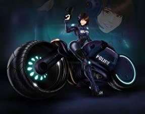 Fotos Technik Fantasy Motorradfahrer Kopfhörer Fantasy Motorrad Mädchens