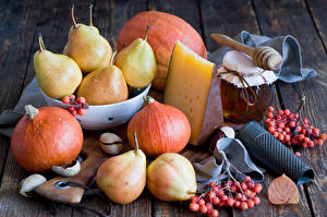 Pictures Still-life Pumpkin Cheese Pears Honey Jar